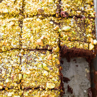 Salted Texas Chocolate Sheet Cake with Pistachios