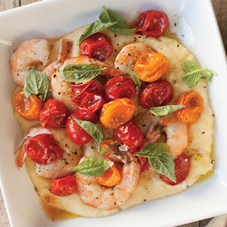 Herb Brined Shrimp with Roasted Tomatoes and Polenta