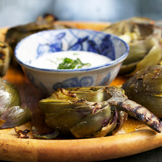 GRILLED ARTICHOKES WITH LEMON AIOLI.
