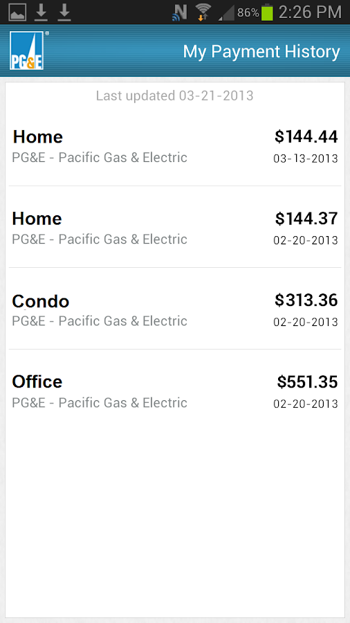 PG&E Mobile Bill Pay- screenshot