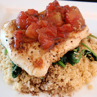 Balsamic Chicken with Baby Spinach and Couscous.