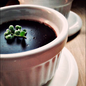Chocolate Pudding with Marjoram Flowers