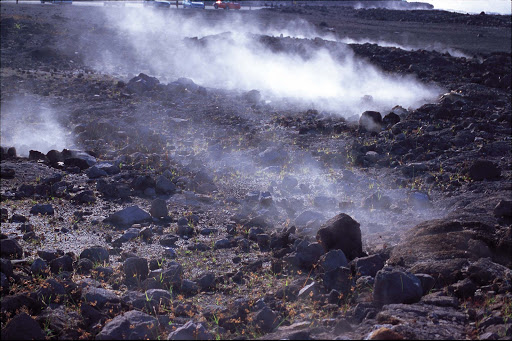 Halemaumau-Crater - Vapor rises along the trail at Halemaumau Crater, an active volcano on the Big Island of Hawaii.