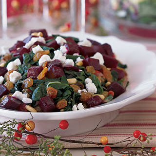 Swiss Chard with Beets, Goat Cheese, and Raisins