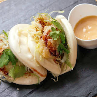 Steamed Buns with Tempura King Oyster Mushrooms and Agave-Miso Mayonnaise (Vegan).