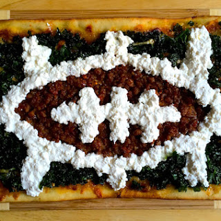 Superbowl Sausage Kale and Ricotta Football Pizza.