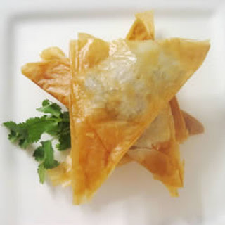 Phyllo Turnovers with Shrimp and Ricotta Filling.