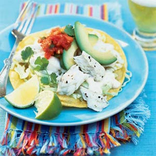 Halibut Tostadas with Yogurt-Lime Sauce