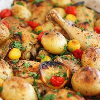 Easy Roasted Lemon Chicken with Tomatoes and Potatoes.