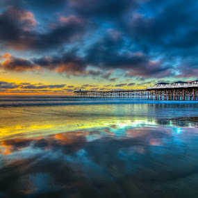Cloudy Reflection by Lance Emerson - Landscapes Beaches ( reflection, pacific beach, sunset, pier, ocean, beach, colorful, mood factory, vibrant, happiness, January, moods, emotions, inspiration )