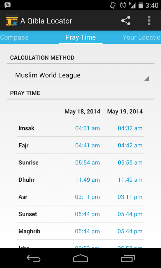 A Qibla Locator- screenshot