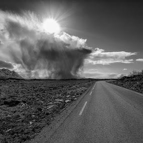 Lofoten by Bjørn Kristiansen - Black & White Landscapes ( sunset, road, lofoten )