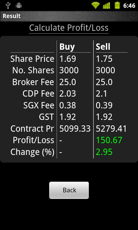 SGX Stocks Calculator - screenshot