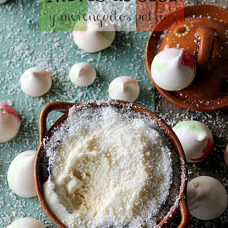 Mini Meringues with Coconut Ice Cream