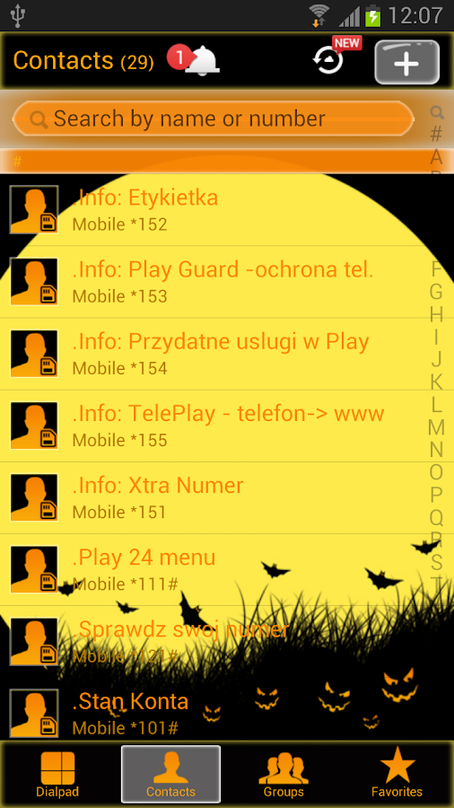 Halloween - GO Contacts Theme- screenshot