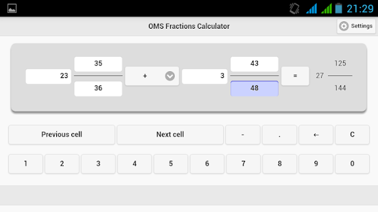 OMS Fractions Calculator- screenshot thumbnail