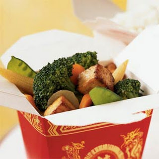 Buddha's Delight with Tofu, Broccoli, and Water Chestnuts.