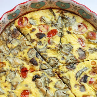 Mushroom and Artichoke Gruyere Crustless Quiche.