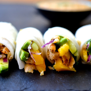 Chicken, Avocado and Mango Rolls.