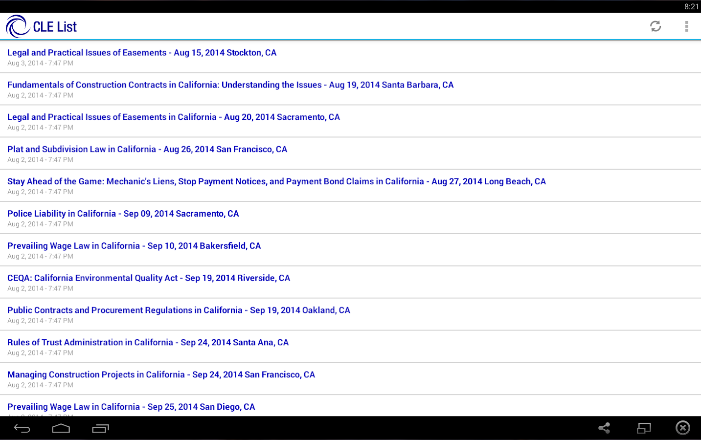 California CLE List- screenshot