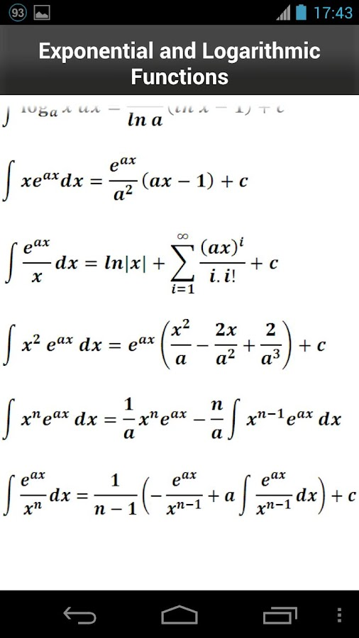Calculus Formulas- screenshot