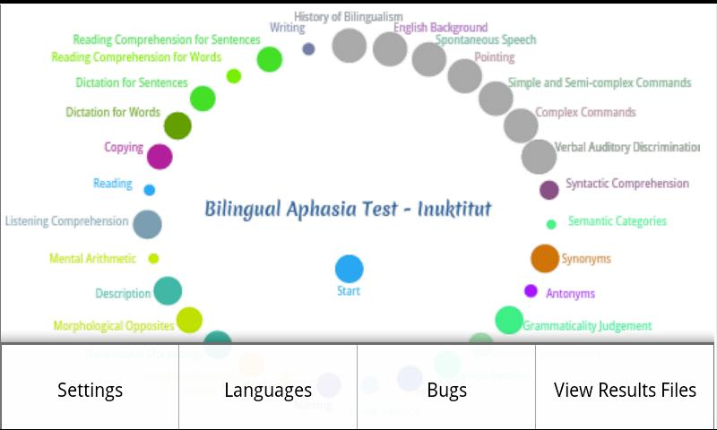 Bilingual Aphasia Test- screenshot