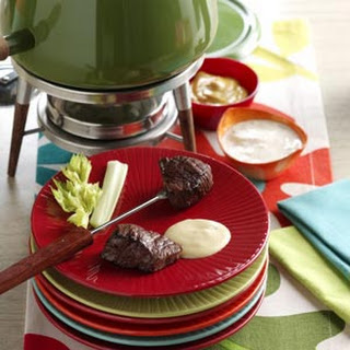 Beef Fondue with Sauces.