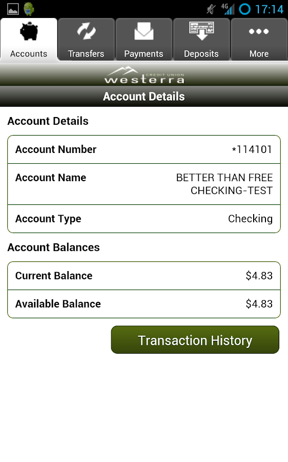 Westerra Credit Union Mobile - screenshot