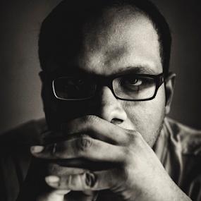 Self Portrait by Rahat Amin - People Portraits of Men ( selfie, black and white, dark, self portrait, portrait, Selfie, self shot )
