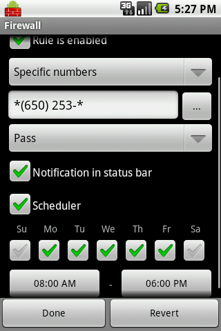 Firewall: Call and SMS filter - screenshot