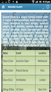 Tennis 2013 Calendar - screenshot thumbnail
