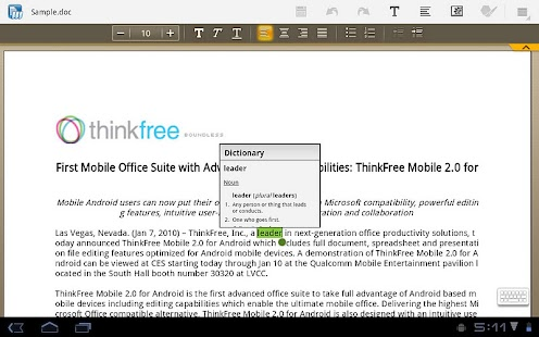 ThinkFree Mobile for Tablet - screenshot thumbnail