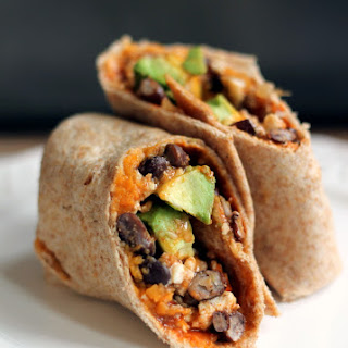 Sweet Potato, Black Bean & Egg White Breakfast Burritos.