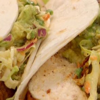 Spice rubbed chicken breast tacos with griddled poblanos, BBQ onions and coleslaw