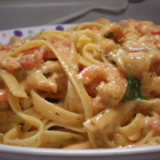Shrimp and Pasta in a Tomato-Chile Cream Sauce.