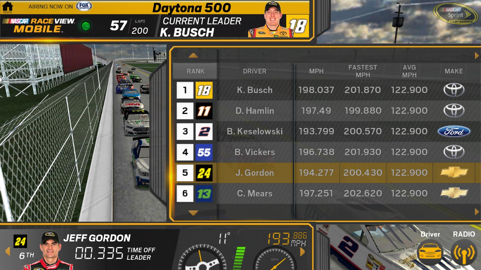 NASCAR RACEVIEW MOBILE - screenshot