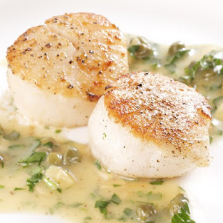 Seared Scallops with Brown Butter, Capers, and Toasted Almond Sauce.