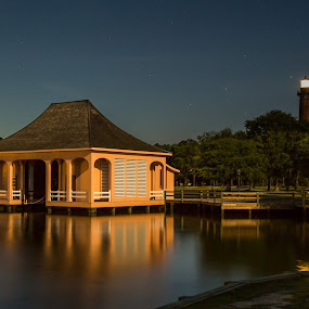 Whalehead Boathouse & Currituck Light by Eddie Tuggle - Buildings & Architecture Public & Historical ( nc, boathouse, whalehead, lighthouse, corolla )