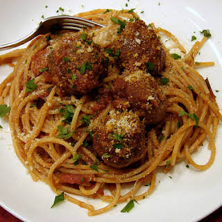 Truly Tender Meatballs in Rich Tomato Sauce.