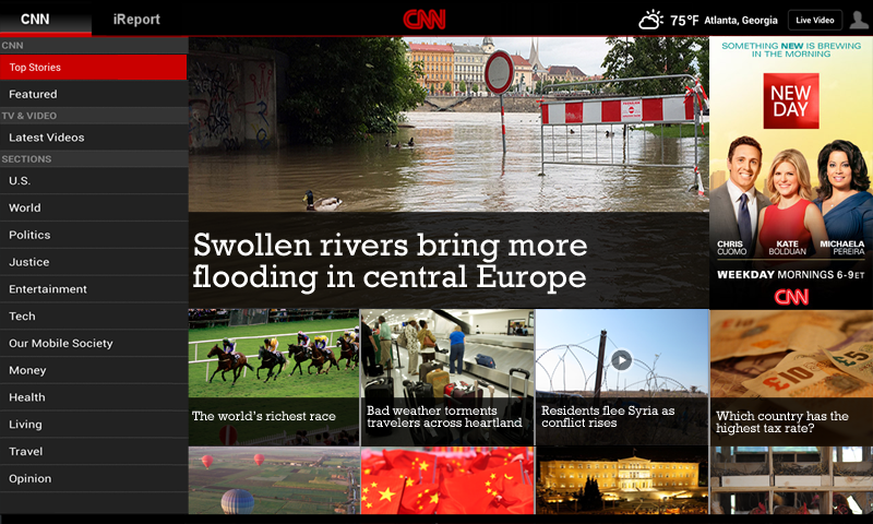 CNN App for Android Tablet - screenshot