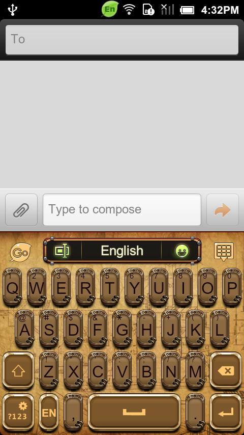 GO Keyboard Steam Punk theme - screenshot