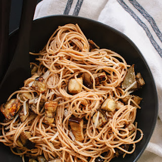 Roasted Eggplant Spaghetti with Miso Brown Butter Sauce.
