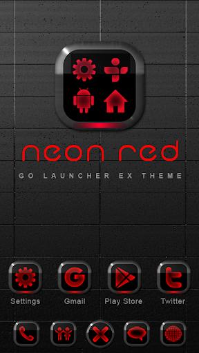 Neon Red GO Launcher Theme