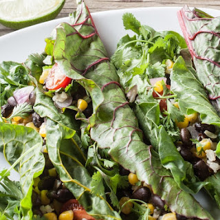 Swiss Chard Taco Wraps with Cumin-Lime Sauce.