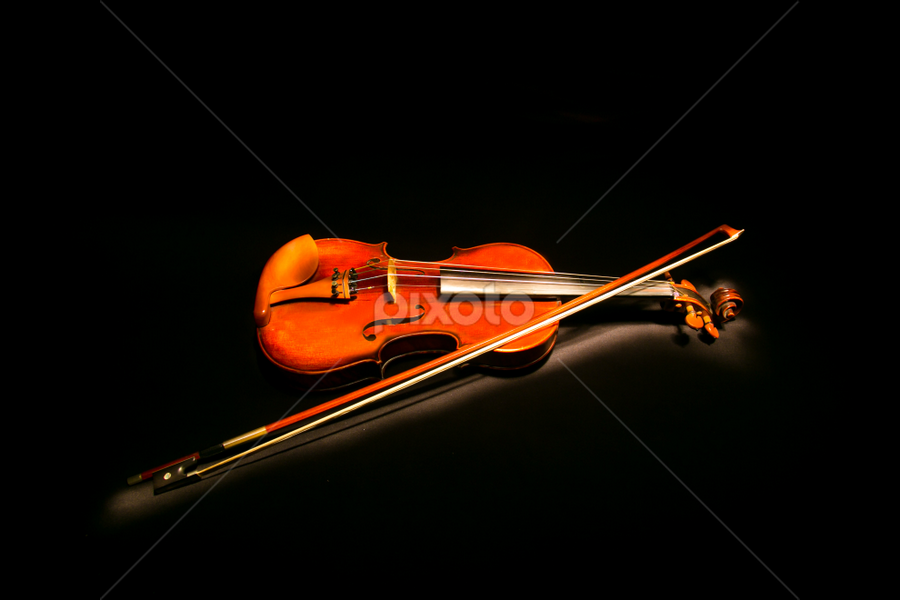 Violin by Cary Chu - Artistic Objects Musical Instruments ( black background, light painting, violin, , object, musical, instrument )