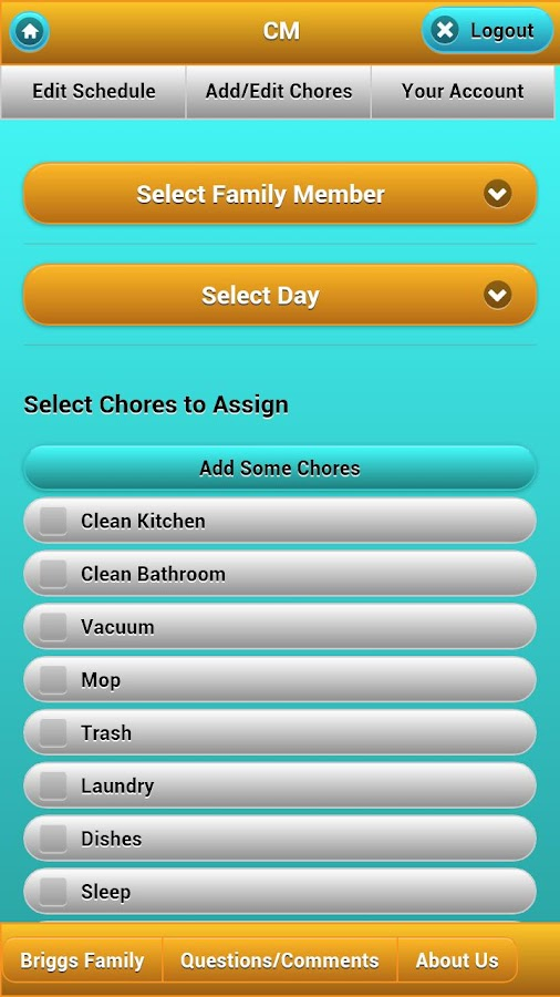 Chore Management- screenshot