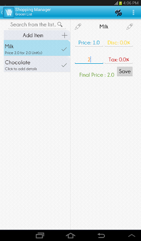 Screenshots for Shopping List Manager