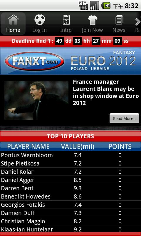 Fantasy Euro 2012 - screenshot
