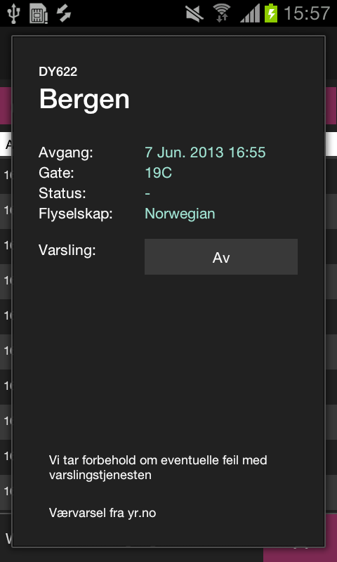 AvinorFlights - screenshot