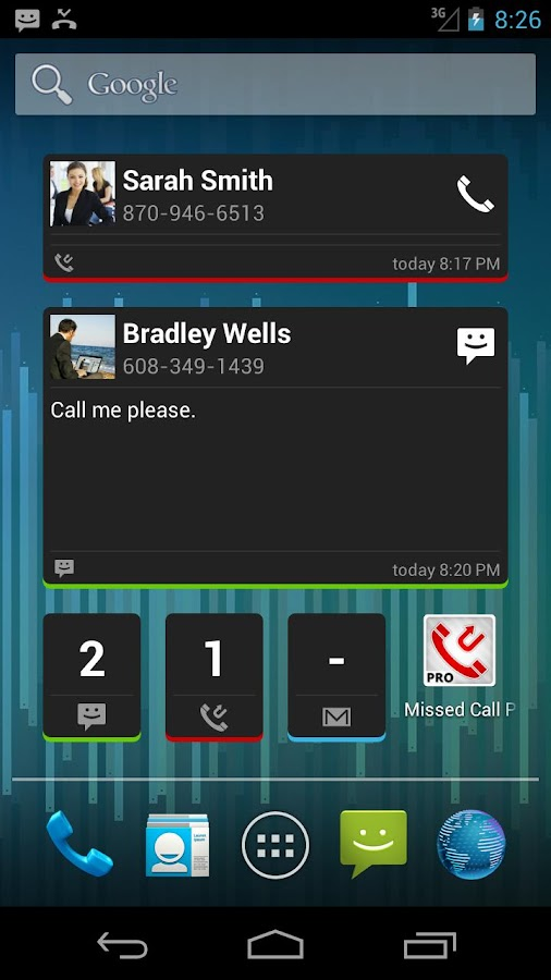 Missed Call / SMS Reminder Pro- screenshot